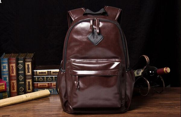 8cd7c60008 Fashionable tide male Leather backpack Korean version schoolbags ...