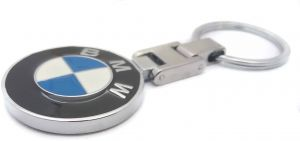 BMW keychain from metal,nickel plated double sided logo