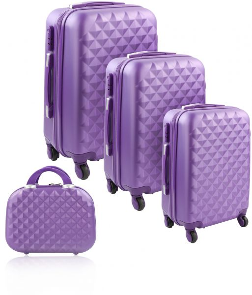 078c8786cb96 Trolley Travel Bags by Morano -4 Pcs - Purple - Size 28, 24, 20, 12 inch -  6686/4p