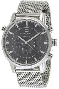 6396258f419fb Tommy Hilfiger Men s Black Dial Stainless Steel Mesh Band Watch - 1790877
