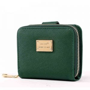 Green Leather Wallet For Women ID Card Holder Girls Short Coin Purse  Clutches 3915125f821dd