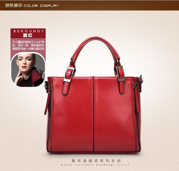 555d03ee4f10 Trendy Red Top Handle Bag For Women Fashion Leather Ladies HandBag ...