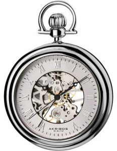f1c0e584e Akribos XXIV Bravura Men's Silver Dial Alloy Chain Pocket Watch - AK453SS