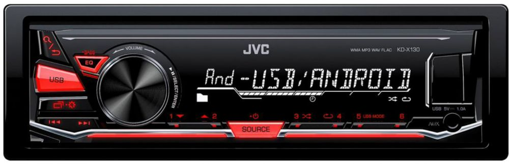 JVC Car Audio Stereo KD-X130M USB/AUX Player - Android/Sub-woofer Control