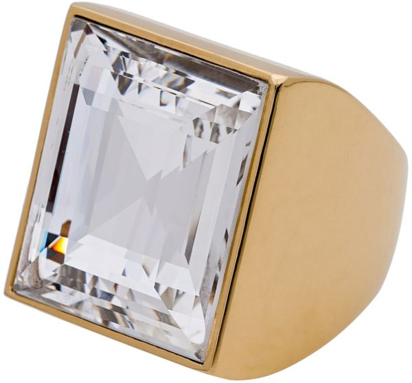 6cbf7a620f52b Michael Kors Women s Gold Plated Stainless Steel Square Pave Ring ...