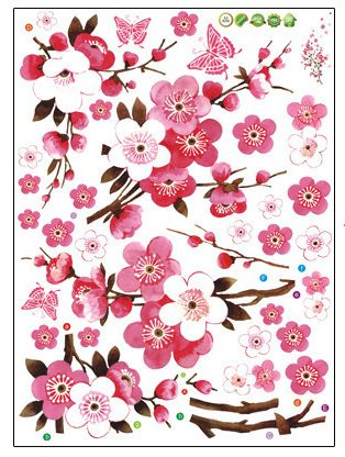 Removable self adhesive wallpapers peach blossom home decoration wall stickers