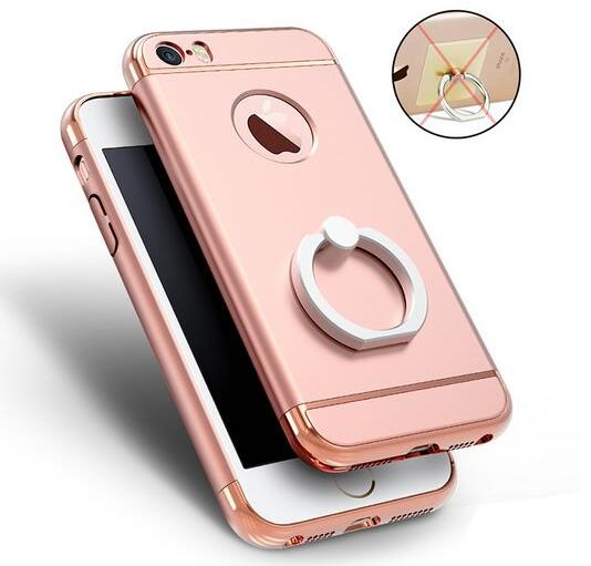 the best attitude 1dc30 cc367 Iphone6s stand case women PC hard stylish slim back cover finger ring cover  sleeve IP616 rose gold