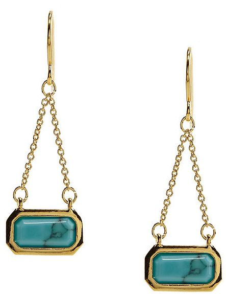 Lauren By Ralph Cushion Stone With Chain Drop Earrings