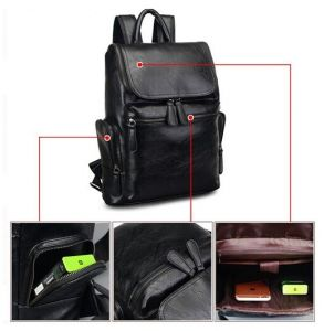 1b6c8cdda282 Korean version Stylish Leather Shoulder bag backpack travel bag For Men  HH94 black