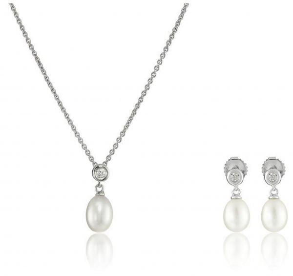 Sterling Silver White Pearl with Swarovski Zirconia Pendant Necklace and Earrings Jewelry Set