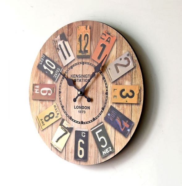 Retro Ancient Real Wood Clock Europe Style Home Decoration Digital ...
