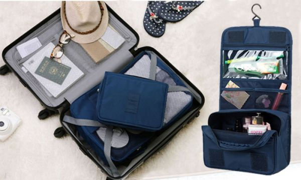 3088325536 Portable Waterproof Cosmetic Makeup Toiletry Travel Hanging Organizer  Storage Bag Pouch - Navy Blue