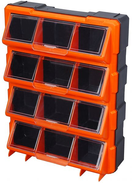 Tactix 12 Compartments Storage Bin With Clear Cover, Orange  Ttx 320648
