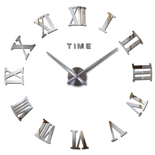 Stylish Large Diy Quartz 3d Roman Number Wall Clock Acrylic Sticker