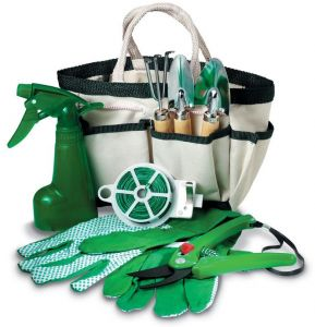 7 Pcs Garden Tools In One Bag Includes Harrow 2 Spades Gloves Watering Can Wire And Scissors
