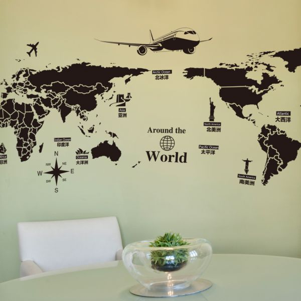 World Map Removable Wall Sticker.Creative World Map Travel Around World Removable Wall Sticker For