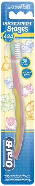 Oral-B Stages 1 (4 - 24 months) Manual Baby Toothbrush, Multi Color