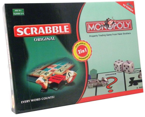 Monopoly And Scrabble Board Game 2 In 1 Set For Family Children