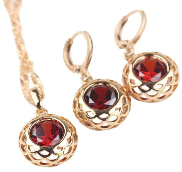 18k Yellow Gold Filled Womens Necklace Earrings Set With Setting Ruby Zircon