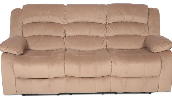 Danube Home Contemporary Fabric Damian 3 Seater Recliner Sofa Beige
