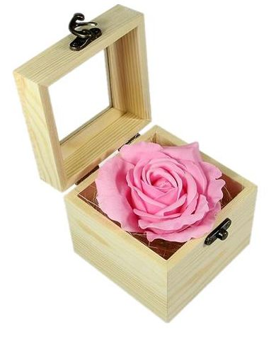 Valentines Day Gift Wood Box Unique Soap Flower Roses