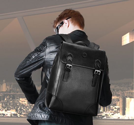 9e2a3f801c Korean version trend Leather Backpack leisure travel bag 14Inch ...
