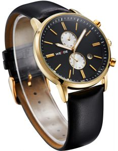 WEIDE WH3302 Men s Watch Quartz Analog Calendar Display With Leather Band -  Gold 0c2593e8923