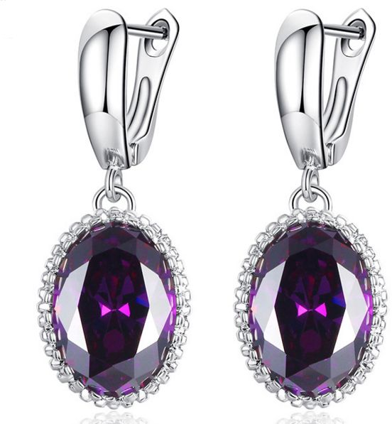 Purple Stone Drop Earrings For Women Accessories