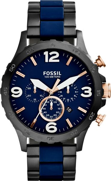 05c4f931700 Fossil Nate Men s Blue Dial Stainless Steel Band Chronograph Watch ...