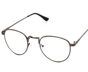 Korean Style Vintage Metal Round Frame Glasses Fashion Women Men Flat Light Eyewear
