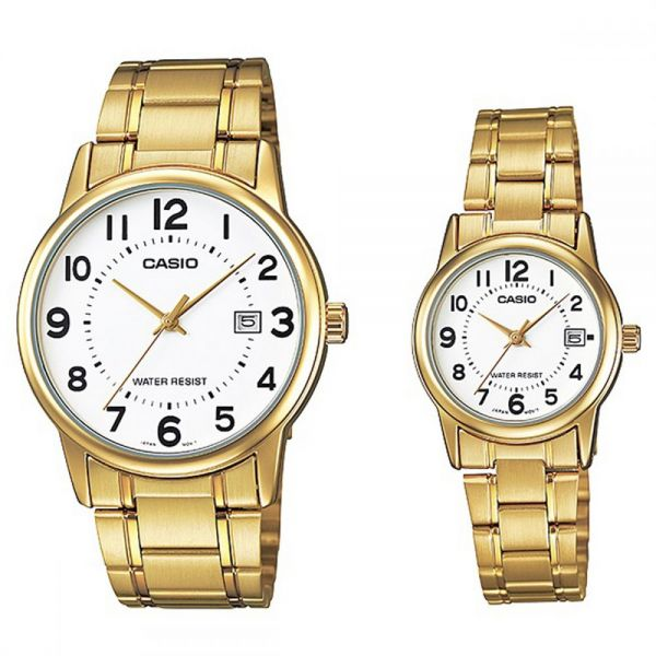 69a0d288682 Casio His   Hers White Dial Stainless Steel Band Couple Watch - MTP ...