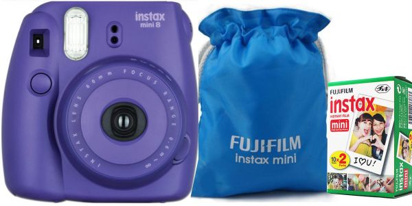 Fujifilm Instax Mini 8 Instant Film Camera Purple With Blue Pouch And 20 Sheet