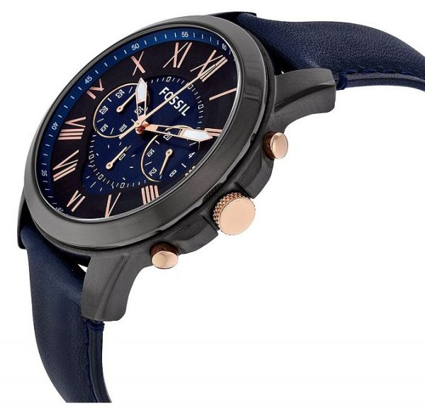 450ed5291 Fossil Mens FS5061 Grant Black Stainless Steel Watch with Blue Leather Band