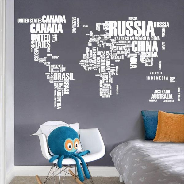 Black letters world map wall stickers living room home decorations black letters world map wall stickers living room home decorations creative decal mural wall art gumiabroncs Image collections