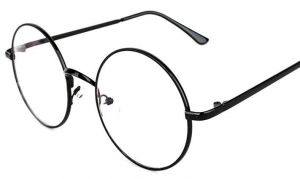 ea2ff562a4d Oversized Metal Round Retro Eyeglasses Black Frame Flat Glasses for Unisex