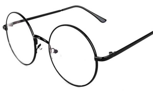 6f19fccca2 Oversized Metal Round Retro Eyeglasses Black Frame Flat Glasses for Unisex