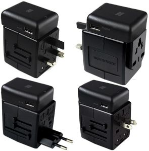 Universal Travel Adapter Worldwide Plugs UK EU US AU Auto Switch / 2 USB / Power Socket / Promate Travelmate-Mobi