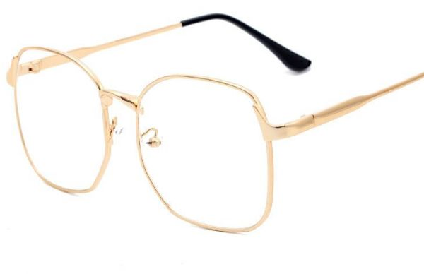 b0066cfcdfc Preppy style Oversized Retro Eyeglasses Metal Frame Lovers Flat Eyewear for  Unisex. by Other