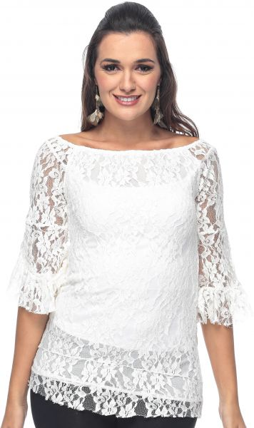 b0a8793e43 ZmuruD White Lace Off Shoulder Blouse For Women Price in UAE | Souq ...