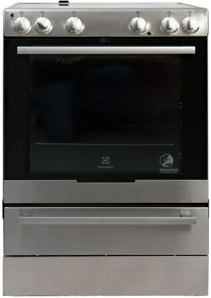 electrolux free standing cooker with ceramic hob silver ekc6051box
