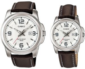 58a04d493c8b Casio His   Hers White Dial Leather Band Couple Watch - MTP LTP-1314L-7AV