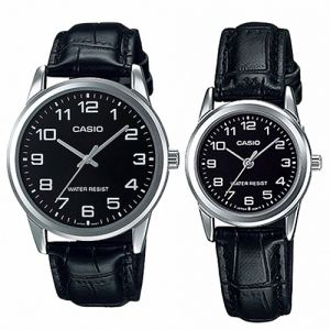 Casio His   Hers Black Dial Leather Band Couple Watch - MTP LTP-V001L-1BUDF 72075e0b646d