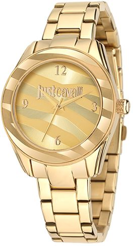 Just Cavalli Womens Gold Dial Stainless Steel Band Watch - R7253594501