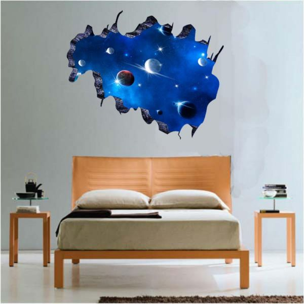 3d space galaxy planet wall stickers for home decoration | souq - uae