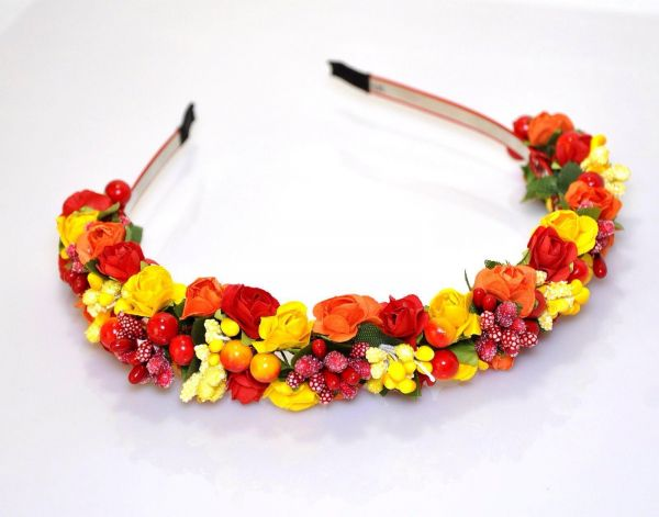 Handmade Red Orange Yellow Floral Headband Flower Crown Headpiece