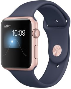 5a56e804e Apple Watch Series 2 - 42mm Rose Gold Aluminium Case with Midnight Blue Sport  Band, OS 3 - MNPL2