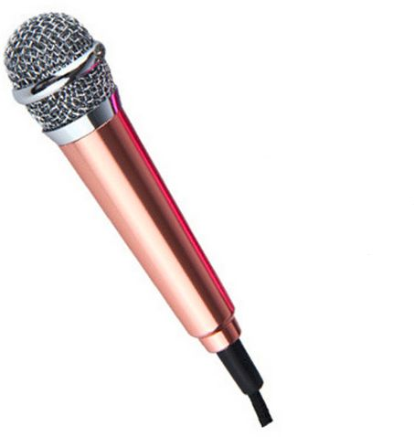 Gold Mini Microphone Stereo Condenser Mic For IOS Android phone PC Laptop Chatting .