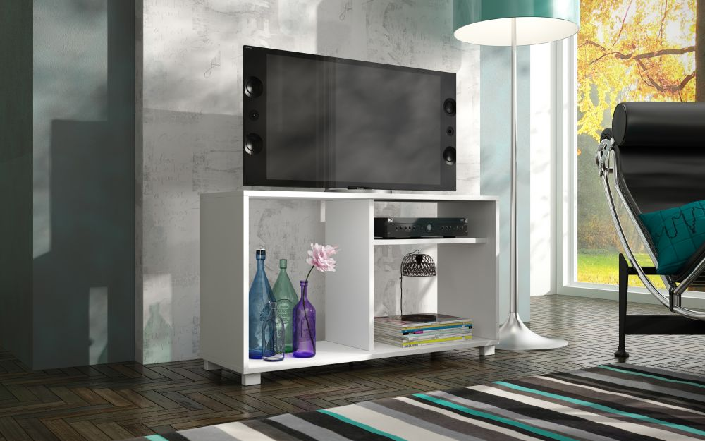 BRV Moveis TV Stand with Three Shelves for 42 inch TV - White, Size