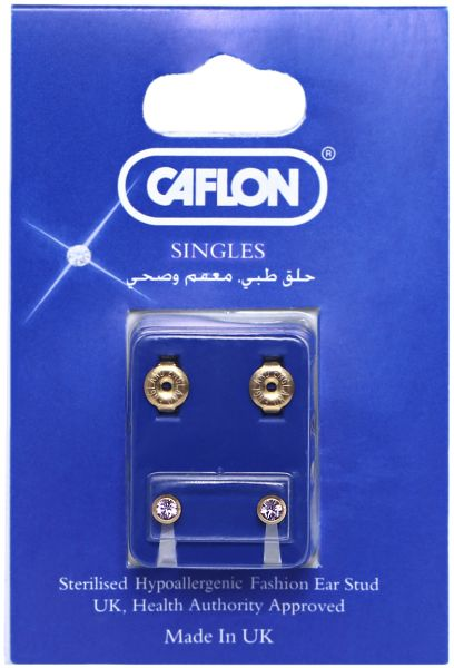 Caflon S Alloy Medicated Stud Earring Gold And Clear
