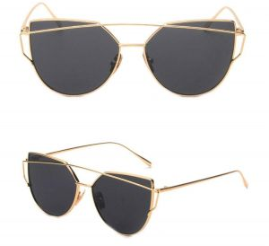 da3abd0d2191 Mirrored Cat Eye Fashion Sunglasses Designer Style Gold Frame Black Lens